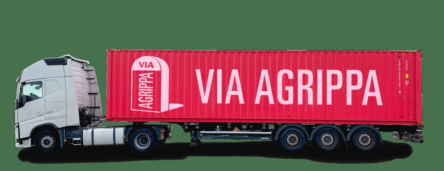Vrachtwagen met Via Agrippa logo